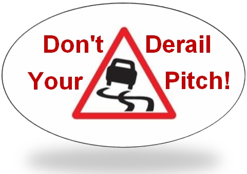 Car skidding with words saying don't derail your pitch