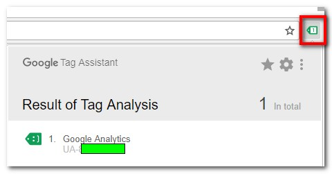 Google Tag Assistant shows that a the analytics tag has been found